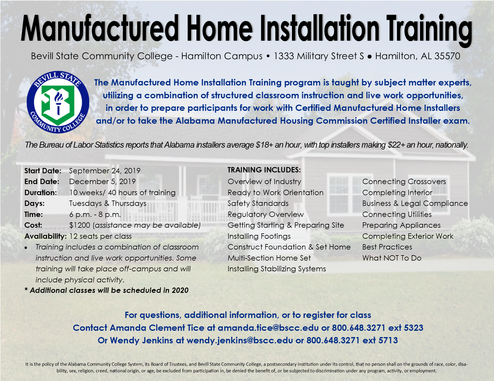 Manufactured Home Installation Training Flyer