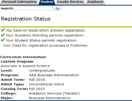 Registration Status Screen 2 OneACCS